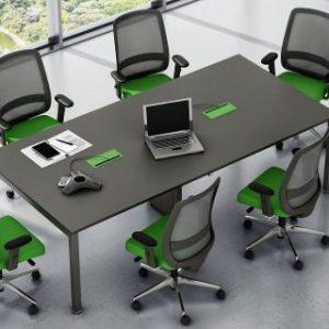 Mesa De Reunião Retangular Com Caixa De Tomadas